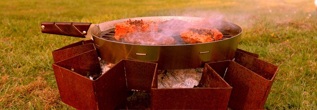 Prairie kampvuur en pan BBQ