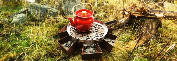 Prairie kampvuur met prairie pan in Noorwegen