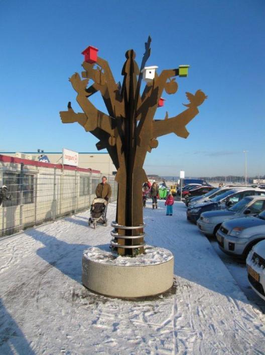 Ontmoetingsboom in de winter